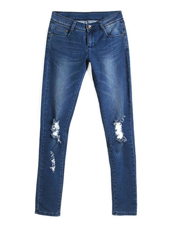 sale Broken Hole Deep Blue Pencil Jeans - DEEP BLUE M
