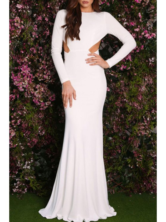 shop Backless Floor-Length Mermaid Formal Dress - WHITE ONE SIZE(FIT SIZE XS TO M)