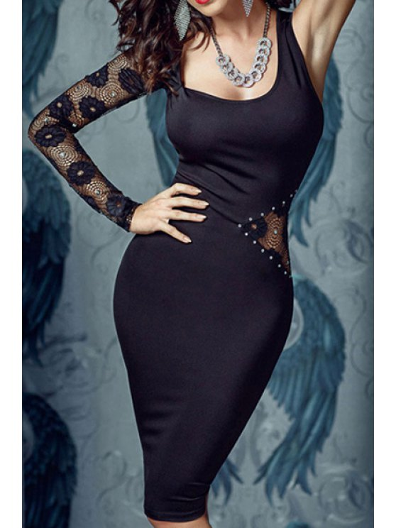 buy One Sleeve Rhinestone Embellished Prom Dress - BLACK ONE SIZE(FIT SIZE XS TO M)