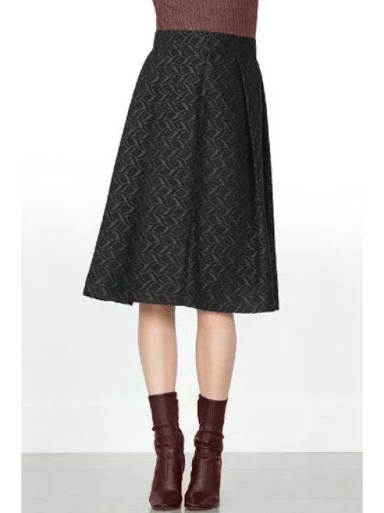 fancy High-Waisted A-Line Black Skirt - BLACK S