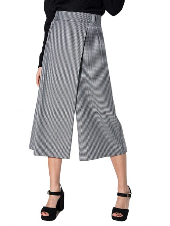 hot Houndstooth Print High Waisted Culotte Pants - WHITE AND BLACK XL