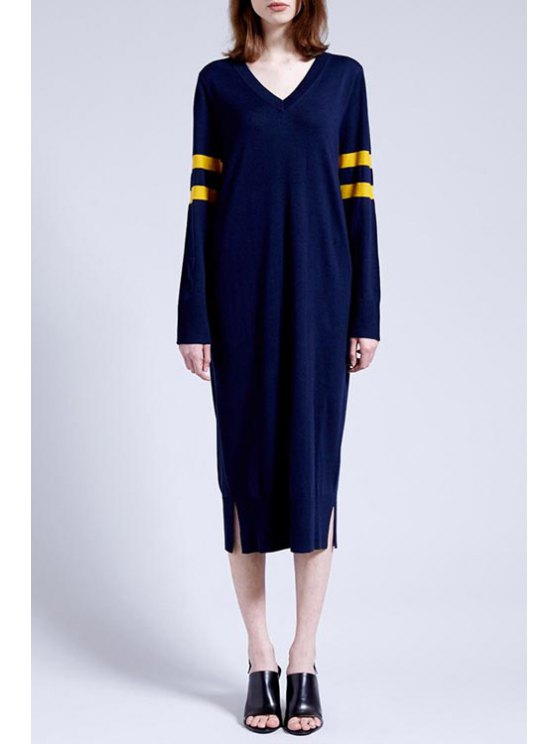 womens Striped Side Slit Sweater Dress - YELLOW S