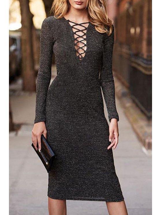 fashion Plunging Neck Deep Gray Midi Dress - DEEP GRAY S
