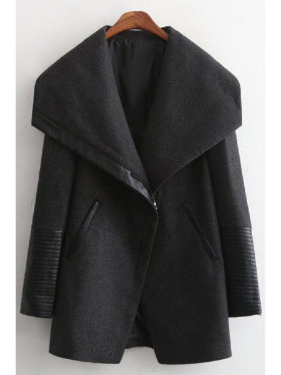 fancy Large Lapel PU Spliced Thick Coat - BLACK S