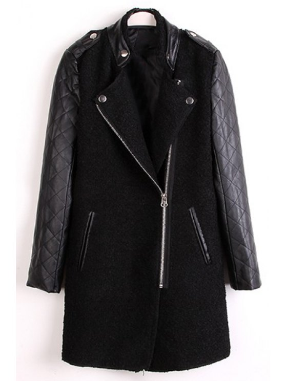 affordable Stand Neck PU Leather Sleeve Tweed Coat - BLACK S