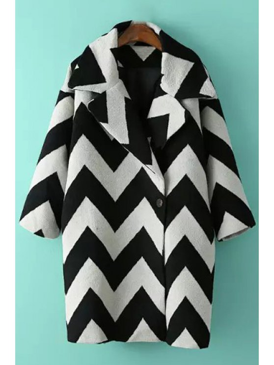 online Lapel 3/4 Sleeve Zig Zag Wool Coat - WHITE ONE SIZE(FIT SIZE XS TO M)
