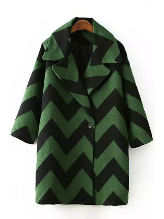 hot Lapel 3/4 Sleeve Zig Zag Wool Coat - GREEN ONE SIZE(FIT SIZE XS TO M)