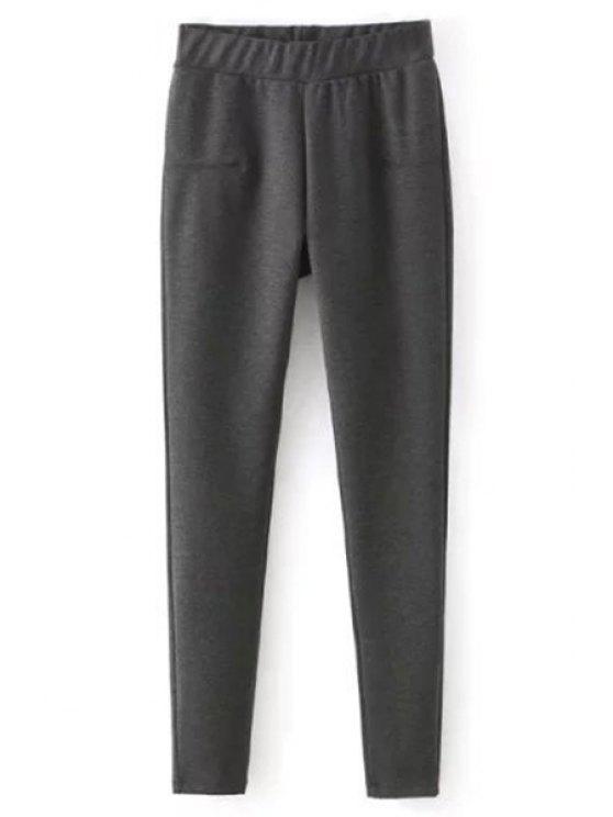 shops Solid Color Elastic High Waist Leggings - GRAY M