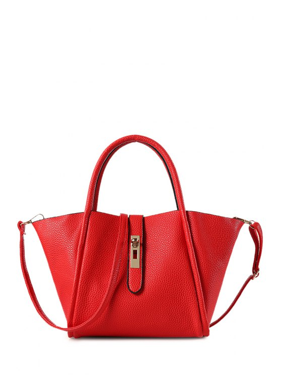womens Hasp Embossing Pure Color Tote Bag - RED