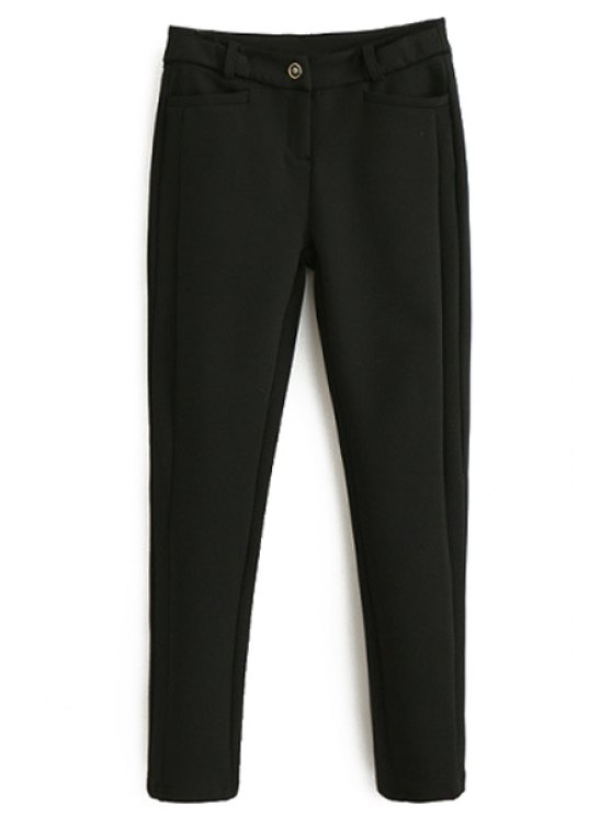 sale Solid Color Stretchy Thicken Narrow Feet Pants - BLACK L