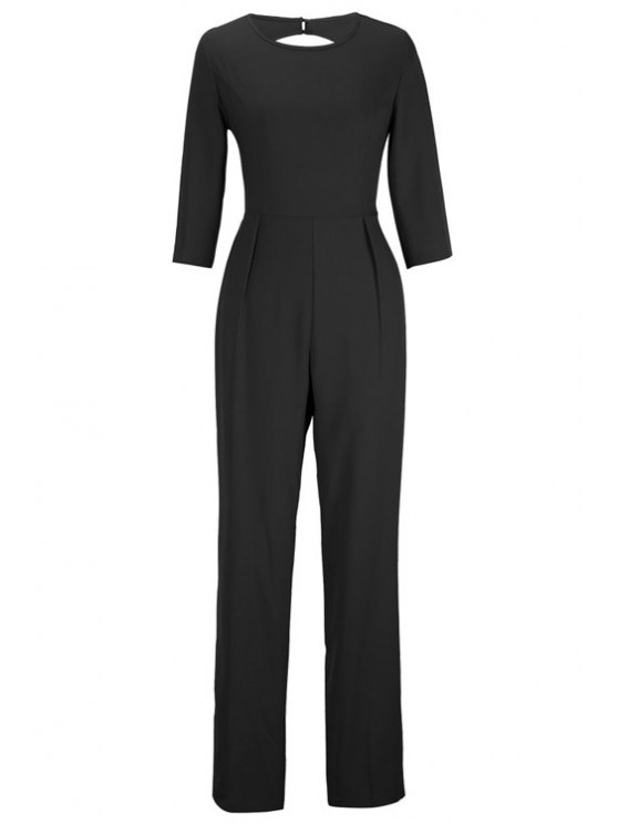 unique Backless Solid Color Round Collar Jumpsuit - BLACK XL