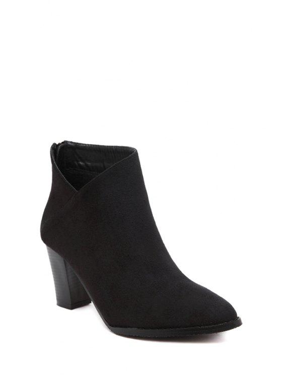 fashion Flock V-Shape Chunky Heel Ankle Boots - BLACK 38