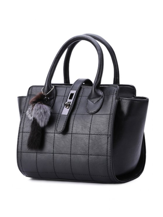 Grid Stitching Hasp Tote Bag - Negro