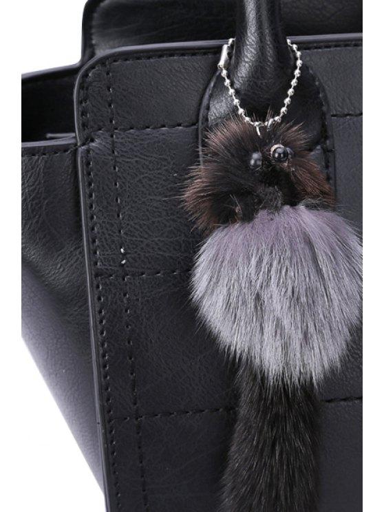 Grid Stitching Hasp Tote Bag - BLACK  Mobile