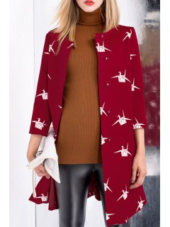 Paper Crane Single-Breasted Trench Coat - Red L