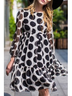 Long Sleeve Polka Dot High-Waisted Dress - Black And White L