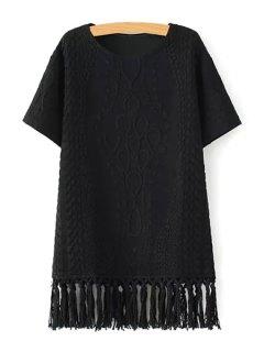 Short Sleeve Fringed Straight Dress - Black L