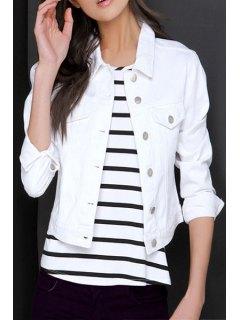 White Denim Cropped Jacket - White 2xl