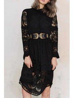 Long Sleeve Crochet Flower Lace Dress - Black L