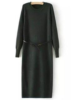 Solid Color Back Slit Long Sleeves Sweater Dress - Blackish Green