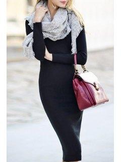 Long Sleeve Black Bodycon Dress - Black