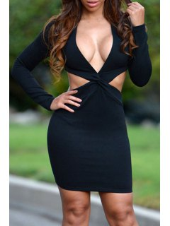 Cut Out Plunging Neck Long Sleeve Dress - Black