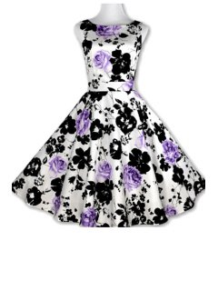 Floral Print A-Line Round Color Sleeveless Dress - Purple L