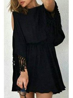 Cut Out Fringed Chiffon Dress - Black L