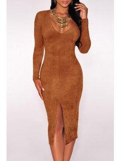 Solid Color Front Slit Plunging Neck Dress - Earthy