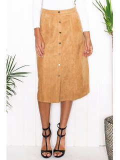 Faux Suede High Waist A Line Skirt - Khaki Xl