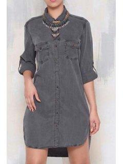 Single-Breasted Denim Shirt Dress - Gray Xl