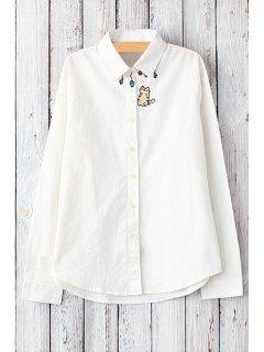 Cat Embroidery Shirt Neck Long Sleeve Shirt - White