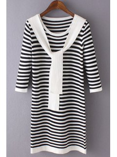 3/4 Sleeve Striped Sweater Dress - Black