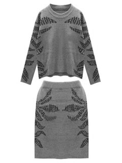 Blue Pattern Long Sleeve Jumper And Skirt Suit - Black