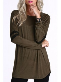 Striped Baseball Round Collar Long Sleeves T-Shirt - Deep Brown S