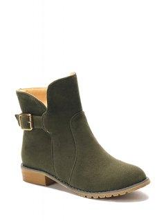 Suede Solid Color Flat Heel Short Boots - Army Green 39