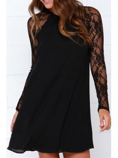 Long Sleeve Lace Patchwork Chiffon Dress - Black Xl