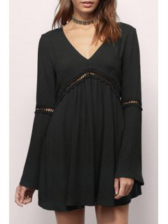 V-Neck Bell Sleeve Hollow Out Dress - Black Xl