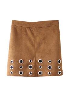 A Line Faux Suede Skirt - Khaki M