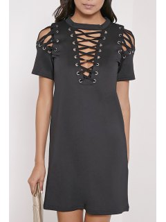 Hollow Out Round Neck Short Sleeves Dress - Black Xl