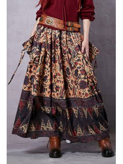 Vintage Print Elastic Waist Skirt - Brown L