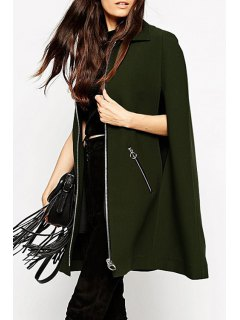 Cape Design Zip Pockets Green Coat - Army Green Xs