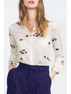 Elephant Print Shirt Collar Long Sleeves Shirt - White L
