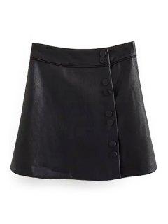 Jupe En Fausse Cuir Noir A Line - Noir L