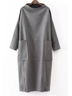 Solid Color Pockets Stand Collar Long Sleeves Dress - Gray