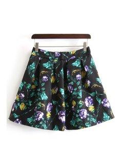 A-Line Ruffled Floral Print Skirt - Black L
