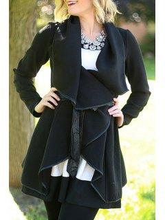 PU Leather Spliced Long Sleeve Black Coat - Black Xl