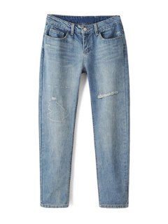 Bleach Wash Ripped Light Blue Jeans - Light Blue L