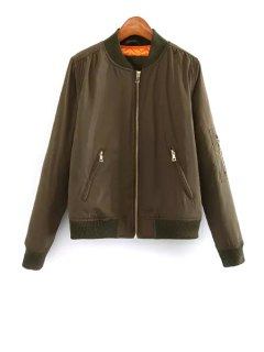 Solid Color Stand Collar Long Sleeves Padded Coat - Army Green L