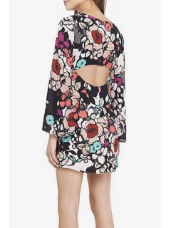 Printed Cut Out Round Collar Long Sleeves Dress - S